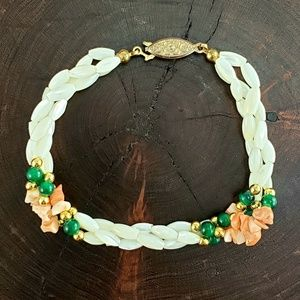 Coral Chips, Mother Of Pearl, & Green Beads Earri